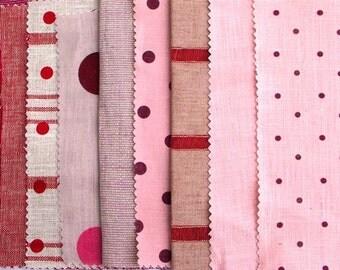 Indian Red,Dots,Stripes,Lurex,Linen Inspiration Pack,Sewing,Patchwork Quilt Kit,Art Doll Kit,Waldorf,Muse,Scrapbooking DIY,Party Garland Kit
