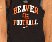 Medium Oregon Beavers Football Upcycled Tshirt Bag / Sleepover Bag / Project Bag