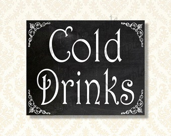 Printable Cold Drinks Sign, Chalkboard Party Signs, 5x7 and 8x10 included - 433