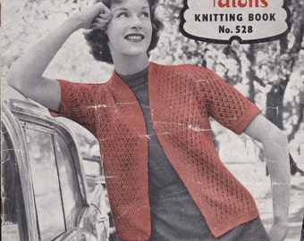 Paton's Knitting Pattern No 528 For Women/Ladies   (Vintage 1950s) Jumpers, Sweaters, Cardigans. Jackets