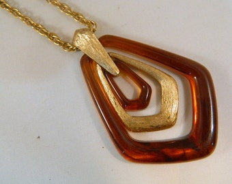Avon Gold and Brown Lucite Necklace / Vintage 1970s Necklace / Long Pendant Necklace