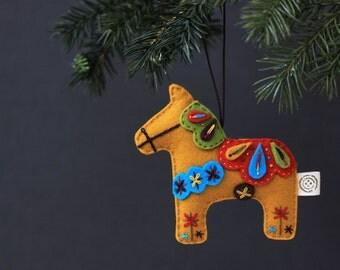 Nikkie's Felt Dala Horse Christmas Ornament- Mustard