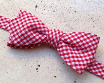 Self tie bowtie , gingham  bow tie, red and white bow tie, men' s fashion