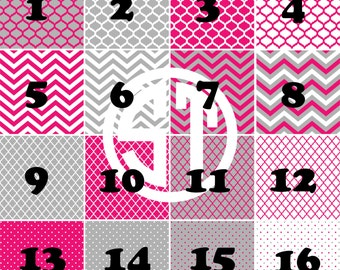 Hot Pink and Gray patterns printed Vinyl or HTV Sheets choose from 6x6, 8.5x11, 12x12 or samples