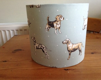 Handmade beautiful duck egg blue dog 20 cm Drum lampshade for ceiling or table lamp
