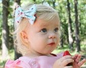 Strawberry gingham bow, blue strawberry bow, strawberry headband, red, pink, white, blue, Tuxedo Bow, baby headband, toddler headband,