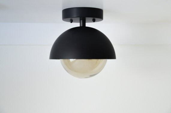 Flush Mount modern matte black light dome with smoked glass