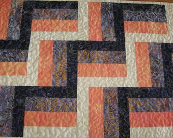 Quilted Table Runner, Rail Fence Stair Step, Purple/Orange Batiks