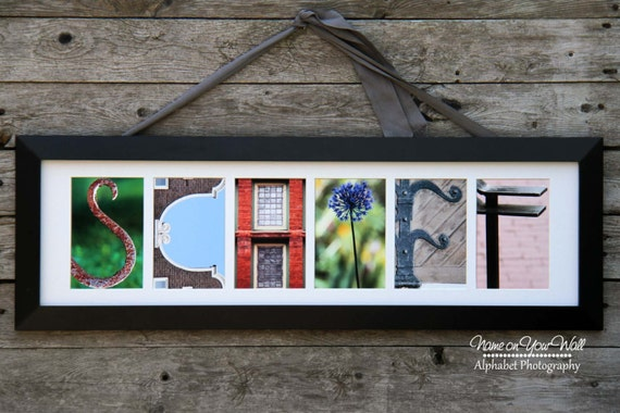 6 Letters - Personalized Framed and Matted Alphabet Photography Artwork