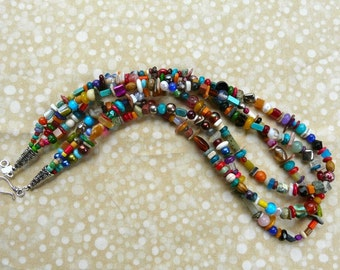 23 Inch Triple Strand Small Multiple Gemstone Necklace with Earrings