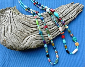 32 Inch Long Chunky Hippie Necklaces with Turquoise Czech Beads and Large Beads with Earrings