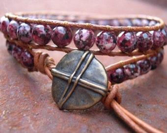 Wrap Bracelet, Beaded wrap bracelet, Beaded leather wrap, Double Wrap bead bracelet, Boho bead wrap - 732