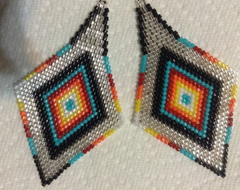 Exclusive Fire n Ice diamond delica seed beaded Boho Hippie Native style 3 1/2 inch hand beaded earrings