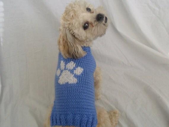 Dog sweater knitting pattern with paw print - PDF, small ...