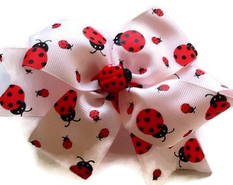 Ladybug Hair Bow - Pink Hair Ribbon - Toddler Bows - Stacked Hair Bows - Fancy Bows - Bug Hair Bow - Large Pink Bow - Birthday Bows - Clippy