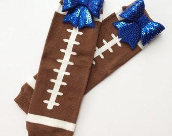 Football Leg Warmers, Glitter Bow, Football Bow, Glitter Leg Warmers, Baby Shower Gift, Football Accessories, Baby Girl, Baby Leg Warmers