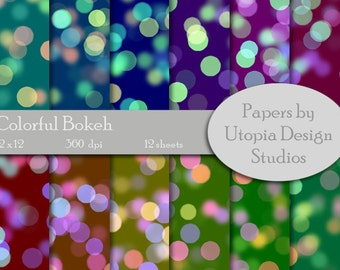 Digital Paper Pack - Colorful Bokeh