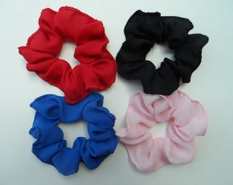 Choose from 25 Colors Scrunchies/ Ponytail Holders/ Bun Holders, Set of 4