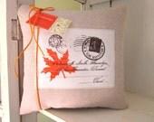 50% CLEARANCE SALE French script pillow, autumn pillows, fall pillow, carte postal decor, decorative pillows, rustic fall pillows,leaf