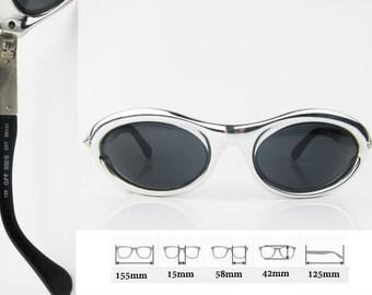 GIANFRANCO FERRE Space Age Futuristic Silver Metallic Vtg Sunglasses