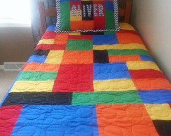 Lego looking quilt with Sham