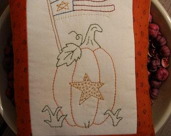 Primitive Fall Halloween Stitchery Pillow, Pumpkin & Flag