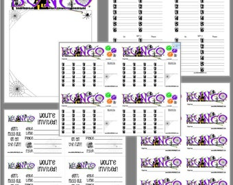 Haunted Halloween Bunco Printable Set, Bunco Score Cards & Tally Sheet, Instant Download, Editable Bunco Invites