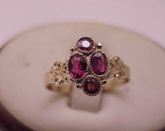 Victorian 12k Fancy Rose Gold Bezel Set 1.25carats Genuine Ruby's Band RING, late 1800s