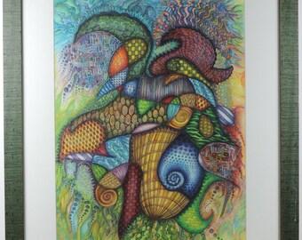 """Original color pencil & ink """"Color Fantasy"""" by Linda C. Miller"""