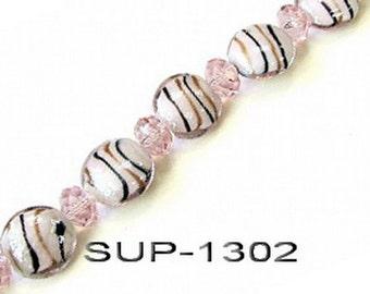 "Swirl Lampwork Glass Beads Strand_ 19mm+-  _7"" std_ 4 styles Available"