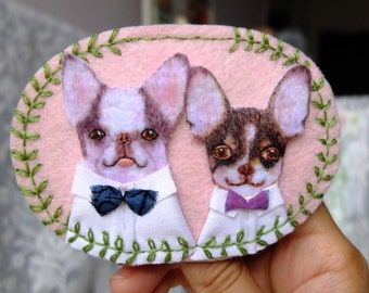 Custom pet portrait pendant - felt embroidered needlecraft/ pet collar/ pet pandant