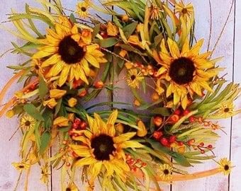 Fall Wreath-Fall Home Decor-Fall Harvest Wreath-Fall Sunflowers-Fall Front Door Wreath-Fall Door Wreath-SUNFLOWER Floral GRASS Door Wreath