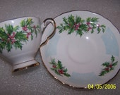English Bone China Teacup and Saucer, Tuscan, Decembers Flower Holly
