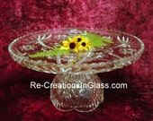 Cake stand.Wedding cake stand.Glass wedding cake stand.Cake plate.Pedestal cake.Pedestal server.Cupcake plate with upcycled glass pieces.