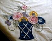 """Vintage Tablecloth  Applique Flower Pots Rick Rack Stitched ends 48 x 50"""""""