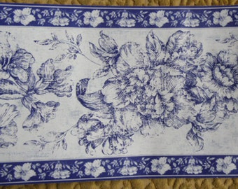 """Wallpaper Border - Wallies,13221 Blue Toile Flowers on White, Discontinued Border, 7"""" x 5 Yards, Dollhouse Supplies, Pre-pasted"""