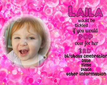 Birthday Party Invitation 5 by 7 Pink bubble birthday party, you print,