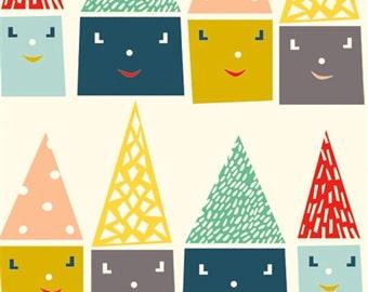 Happy Houses - Happy Town - Emily Isabella - Organic Cotton - Birch Fabrics - 1 Yard