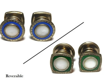 Snap link cuff links, Art deco 1920s mother of pearl (MOP) cufflinks with reversible sides - green and blue, Edwardian, silver frame