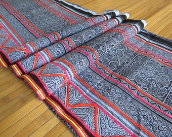 Handprinted Hmong cotton, Vintage style new fabric, Batki  textiles and fabrics- Table runner,