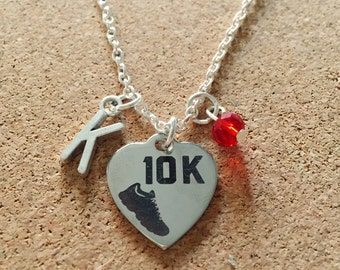 Personalized 10KM Necklace with Your Initial and Birthstone