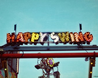 carnival, sky, swing, lights, summer,  fine art photography