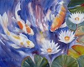 Koi Fish Painting Original Watercolor Art Waterlily Pond 14x21 by Janet Zeh