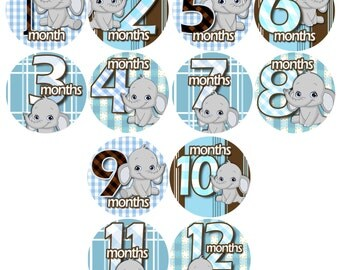 Baby Monthly Stickers 1 to 12 months Bodysuit Romper Stickers - Month to Month Baby Stickers Monthly Baby Stickers - GREY BLUE ELEPHANTS