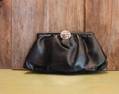 Small Black Purse Mid Century Clutch Vinyl Evening Bag Metal Womens Vintage 1950s 50s (A)