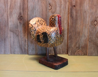 Wood Turkey Carving Rustic Handmade Primitive Handpainted Thanksgiving Vintage 1970s 70s (A)