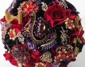 RESERVED FOR BRIDGET: 50% Deposit,  Red, Purple, Silver Brooch Wedding Package