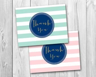 Thank you card, gold sparkle, mint and gold, navy and gold, instant download
