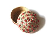 Coiled Straw Basket and Domed Rose Raffia Flower Lid Natural Grass Container What Nots Sewing Notions Trinkets