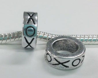 3 Beads - XOXO Hugs Kisses Silver European Bead Charm E1444